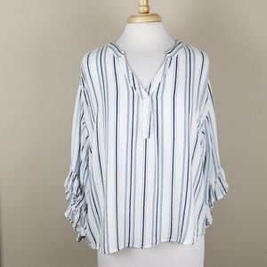 Love Riche white striped top with ruffle sleeve